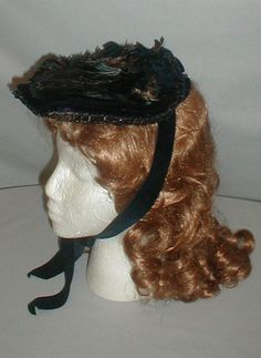 1860's Dark Blue Velvet Feather Trimmed Bonnet | eBay fiddybee; pancake style, crown decorated w/ peacock feathers, brim trimmed with black beaded loops, bonnet back - small blue velvet bow & short pleated back curtain, blue velvet chin ties, lining: black silk & buckram, very good condition