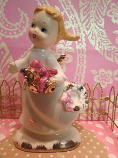 Vtg Dancing Christmas Angel W Gold Jingle Bells Pink Holly Berry Wreath JAPAN