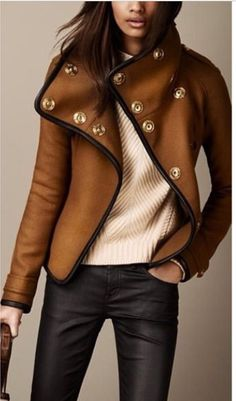 My goodness! This Burberry double breasted gold buttoned short pea coat is EVERYTHING!