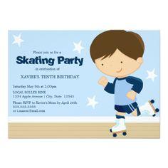 Roller Skate Birthday Invitations Skating Party | Brunette boy Card