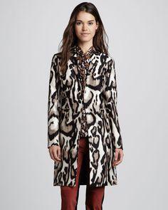 Diane von Furstenberg - Mahala Leopard Silk-Wool Coat