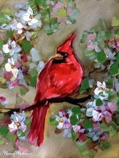 """Cherry Blossom Percher - Red Cardinal Painting by Nancy Medina"" - Original Fine Art for Sale - � Nancy Medina"