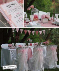 Printemps gourmand - Location housses de chaise Bistro, décoration florale table rose pale, idée présentation menu mariage, décoratrice Poitiers, pivoines, modèle fanions