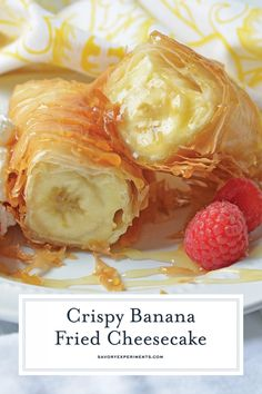 This Banana Fried Cheesecake recipe will become one of your all time favorite desserts! Fried Cheesecake, Banana Cheesecake, Banana Dessert, Cheesecake Recipes, Dessert Recipes, Banana Fried, Fried Banana Recipes, Fried Bananas, Banana Spring Rolls
