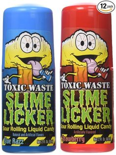 TOXIC WASTE Slime Licker Liquid Candy, 2 Fluid Ounce (Pack of Toxic waste slime licker, 2 ounce of sour rolling liquid candy in blue razz and strawberry flavors. Fun Baking Recipes, Candy Recipes, Gourmet Recipes, Toxic Waste Candy, Cotton Candy Blizzard, Chocolate Candy Brands, Chocolate Treats, Easy Chalk Drawings, Sour Candy