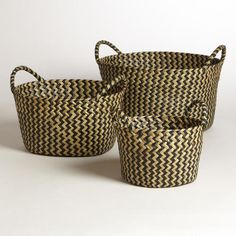 One of my favorite discoveries at WorldMarket.com: Black and White Round Michelle Baskets