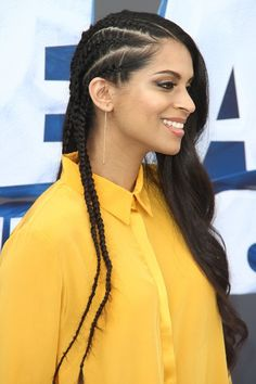 Lilly Singh attends the premiere of 'Ice Age: Collision Course' in Los Angeles on Saturday, July Fishtail Hairstyles, Side Part Hairstyles, Black Women Hairstyles, Cool Hairstyles, Natural Hair Twist Out, Natural Hair Styles, Lily Singh, African American Girl, American Girls