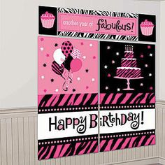 Our Fabulous Birthday Scene Setter Kit lets you create a magnificent background of pink, black and white with stars and zebra stripes.