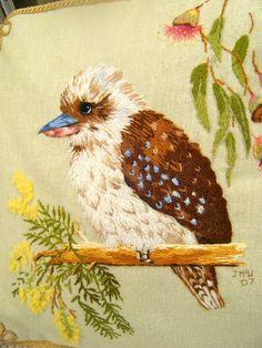 Kookaburra Morning Chill by Jenny McWhinney Embroidered Bird, Bird Embroidery, Japanese Embroidery, Cross Stitch Embroidery, Embroidery Patterns, Thread Art, Thread Painting, Felt Quiet Books, Felt Birds