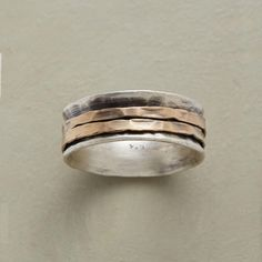 RONDELLE RING--Two rings hand hammered of 14kt gold fill, make the rounds within our exclusive sterling silver ring. Brushed finish. Handmade in USA. Whole sizes 5 to 9..polishingCloth {display:none