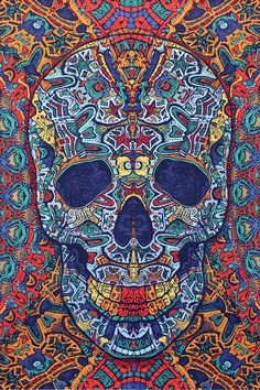 3D Skull Tapestry 60x90 by TheTreasuredHippie on Etsy, $27.95