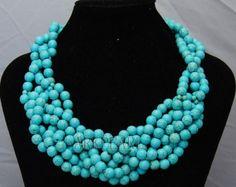 collier de perles, collier bavoir, cadeaux de demoiselle d'honneur, collier de déclaration, bijoux en perles, collier turquoise avec turquoise