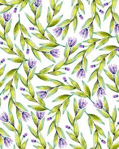 Purple flowers and green leaves watercolor art & #pattern