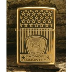 Zippo Lighter - Duty Honor Country Solid Brass Armor 852614 - $49.95. Free Shipping. No Minimum. 24/7