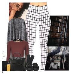 """""""Librarian Lady"""" by jemilaa ❤ liked on Polyvore featuring Zephyr, Topshop, Nomadic, J.Crew, Givenchy, Forever 21 and Linda Farrow"""