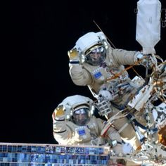 Picture from 38th extravehicular activity. For cosmonauts Alexander Skvortsov and Oleg Artemyev it was the first spacewalk.
