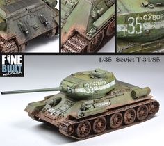 Pro Built 1:35 T-34/85 WW2 Soviet Red Army Medium Battle Tank / AFV Model Kit #DragonModels