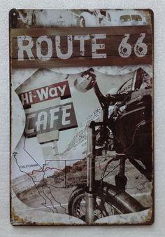 Plaque métal Route 66 de 20x30 cm sur fullbiker.com