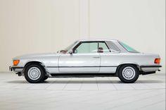 1979 Mercedes-Benz 450 SLC (R 107), silver car, side view