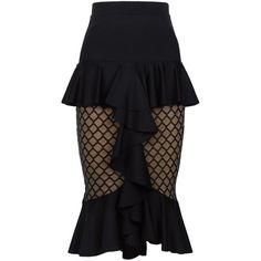 Balmain Ruffled Sheer Panel Pencil Skirt ($1,870) ❤ liked on Polyvore featuring skirts, balmain, pencil skirt, frilly skirt, silk skirt, ruffle skirt and sheer skirt
