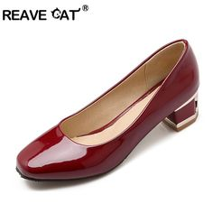Big size 34-43 Patent leather Square toe Square heels Fashion Pumps Shoes women Spring Autumn Black Red Apricot Concise Casual