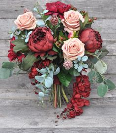 Romantic Wedding Bouquet Burgundy Bouquet made with Marsala Dahlias and Peonies.