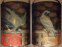 Case (Inrô) with Design of Two Hawks on Tasseled Perches  Period: Edo period (1615–1868) Date: 19th century Culture: Japan Medium: Lacquer, roiro, mura nashiji, gold and coloured hiramakie, takamakie; Interior: nashiji and fundame