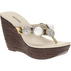 b27a2824c Mo Mo Women s Angel Jeweled Wedge Thong Sandals Espadrilles