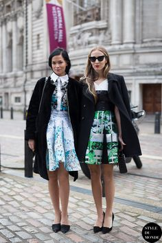 Leigh Lezark and Harley Viera-Newton, American models and DJs, before Peter Pilotto Fashion Show.