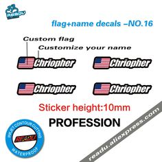 Personalised Named Flag Cycle Frame Cycling Helmet Bike Team Sticker Decal 10mm