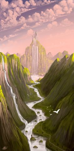Waterfall castle by *Syntetyc on deviantART