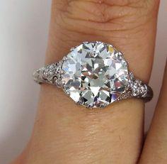Antique Vintage Edwardian 3.52 ct Platinum OLD EUROPEAN Diamond Engagement Wedding Anniversary Ring, EGL on Etsy, $19,450.00