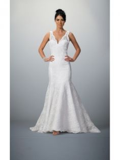 Trumpet/Mermaid V-neck Beading Lace Sweep Train Wedding Dress