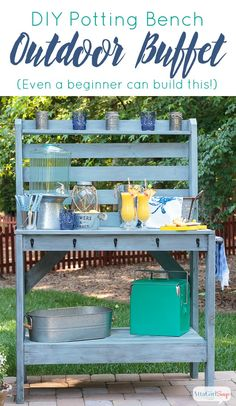 DIY Outdoor Potting Bench/Buffet Table - A tutorial that explains how to build a potting bench that doubles as a buffet table for your yard or patio Outdoor Potting Bench, Potting Tables, Patio Bench, Outdoor Planters, Diy Patio, Buffet En Plein Air, Outdoor Spaces, Outdoor Living, Outdoor Decor