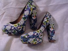 "Gianni Bini Platform Pumps Multi Color  Floral  5"" High  Heels Size 7.5 Med  #GianniBini #PumpsClassics #Party"