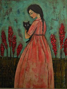 I believe the artist is Kim Duncan although I am having a hard time verifying this She And Her Cat, Black Cat Art, Black Cats, Illustration Art, Illustrations, Cat People, Art For Art Sake, Cat Drawing, Whimsical Art