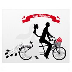 http://rlv.zcache.com/just_married_bride_and_groom_on_tandem_bicycle_plaque-r9ff6be4c5ec348ce9370db15e5fe8fb0_arn39_8byvr_512.jpg