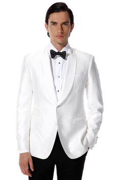 Top selling White Jacket With Black Satin Lapel Groom Tuxedos ...