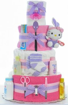 """Show up with a Hello Kitty Diaper cake """"Be The Talk of The Baby Shower"""" ~eDiaperCakes"""