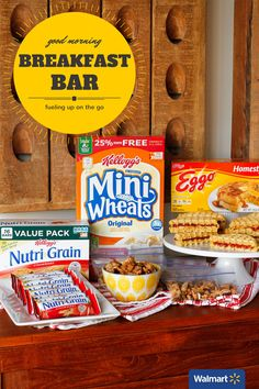 How To Make a Breakfast Bar | Walmart – Put together a fun on-the-go breakfast bar for kids to ensure they're fueling up before heading to school. Add something easy to pickup like Nutri-Grain bars and Mini Wheats Trail Mix, or try a twist on a classic with PB&J Waffle Sandwiches.