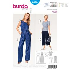 Burda Style Jumpsuit, Top & Trousers 6516 - The Foldline Burda Sewing Patterns, Dress Patterns, Sewing Ideas, Vogue, Tiered Skirts, Jumpsuits For Women, Pattern Fashion, Pants For Women, Shopping
