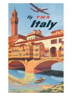 Old TWA poster promoting European travel.  Love these old posters.  This one is of the Ponte Vecchio in Florence, Italy... Which was awesome in person ;)