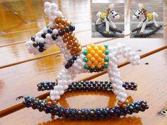 Beaded horse3D Beaded Animal Figurine sitter by JajaCreations, $11.99