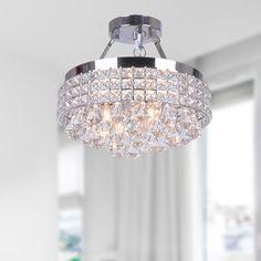 Antonia 4-light Crystal Semi-flush Mount Chandelier with Chrome Iron Shade - Overstock Shopping - Big Discounts on Otis Designs Flush Mounts
