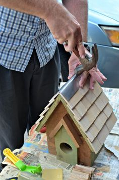 Easy DIY Birdhouses for Kids - hammer metal straight