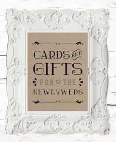 Gift Table Wedding Sign // Rustic Wedding Sign // by LADYBIRDINK, $15.00