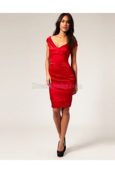 Red Sheath/Column Off The Shoulder Backless Short Sleeve Satin Homecoming Dresses HD256D