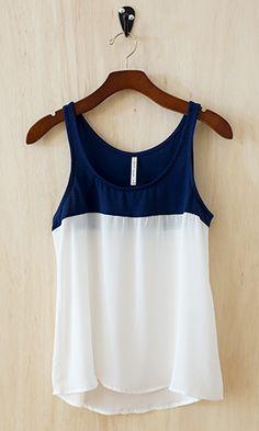 blue + white tank