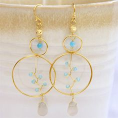 18K Gold Plated Earrings in Gray Agate and Blue Jade TLEG0640GRABJ