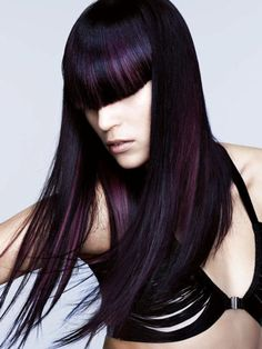 Purple Hair Highlights with a blunt bang on black hair. Purple Hair Highlights, Hair Color Purple, Dark Purple, Purple Ombre, Dark Brown, Purple Streaks, Black Cherry Hair Color, Violet Brown, Purple Makeup